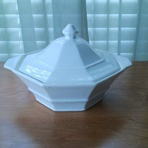 Vintage Casserole Bowl with Lid Off White Ceramic